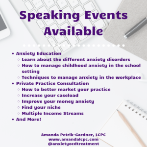 Speaking Events - Anxiety Presentations Available - Amanda